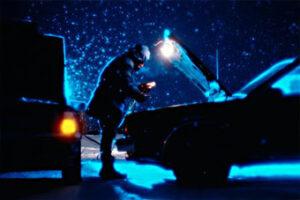 Car Broken Down In Winter Snow